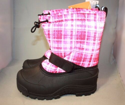 New-Girls-Northside Frosty Black//Pink plaid Winter Snow Boots