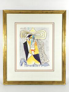 Picasso-Couleur-Granolithografie-Tete-De-Femme-Pour-Chapeau-Blattgoldrahmen