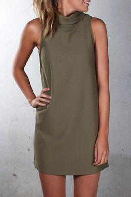 Ladies Womens Polo Turtle Neck Sleeveless Plain Summer Mini Dress Sexy Tops Plus