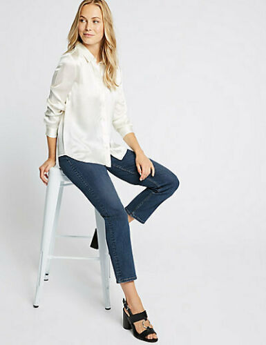 M/&S Da Donna MARKS SPENCER High Rise Caviglia Grazer Dritto Jeans Blu UK 22 24 S R