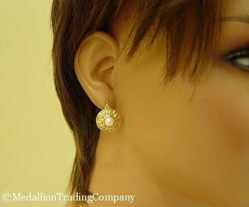 14k or jaune 6 mm BLANC MABE PEARL Leverback Crochet grec clé Cercle Boucles d/'oreilles
