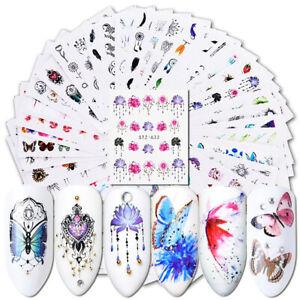 40-Stueck-Wasserzeichen-Nail-Art-Sticker-Blume-Schmetterling-Manikuere-Abziehbilde
