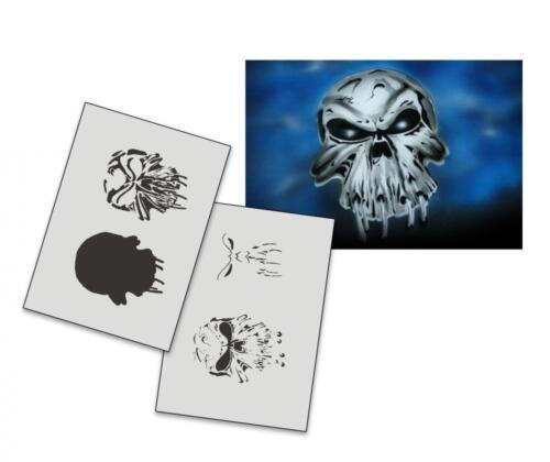 Step by Step Stencil AS-008 Skull ~ UMR Airbrush Stencil