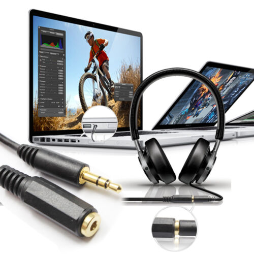 Gold 6 inch 15CM 3.5 mm Male//Female Stereo Audio Extension Cable Black 2Packs