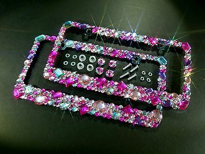 2 LICENSE PLATE FRAMES w SCREW CAPS CRYSTAL DIAMOND RHINESTONE BLING MIX AB PINK