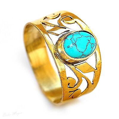 Turquoise Ring Gold Tone Brass Jewelry Gemstone Handmade Unique Gift Gem New Net