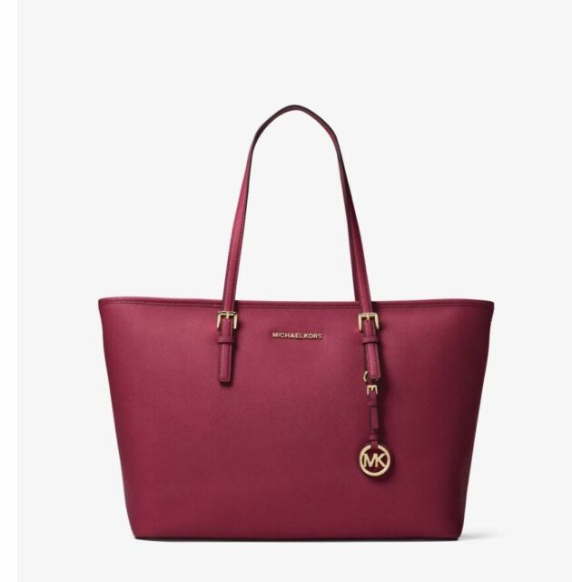 2540685aa1 NEW Michael Kors Jet Set Travel Medium Saffiano Leather Top-Zip Tote  Mulberry