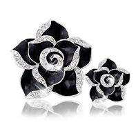 3D Alloy Bling Black Camellia DIY Crystal cell Phone for iPhone Deco Den Kit