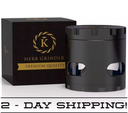 Black//Gold Herb Grinder Luxury Extra Sharp Powerful Tobacco//Spice Crusher