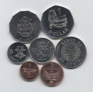1 2 5 10 20 50 CENTS 1 DOLLAR SOLOMON ISLANDS SET OF 7 COINS QEII 2005 UNC