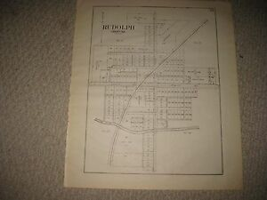 Antique 1912 Rudolph Liberty Township Wood County Ohio Map Land