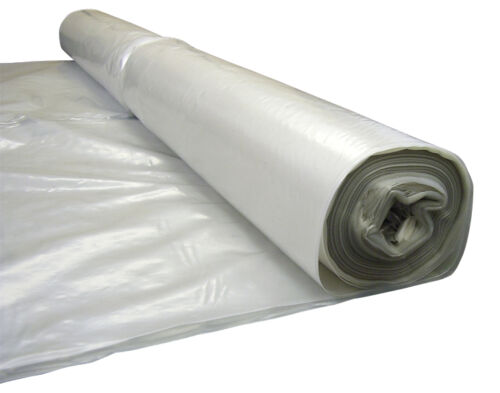 240 Gauge 4m Wide x 25m Long Clear Polythene Plastic Sheeting Rolls 60Mu