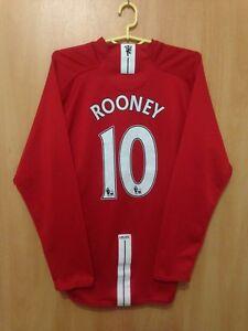 MANCHESTER UNITED 2007/2008 HOME FOOTBALL SHIRT JERSEY L/S WAYNE ...