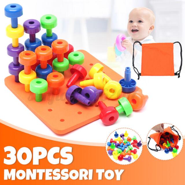 AU 30PCS Peg Board Set Montessori Occupational Fine Motor Toy Toddlers Pegboard