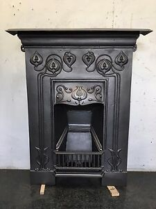 Image Is Loading Original Restored Antique Cast Iron Art Nouveau Fireplace