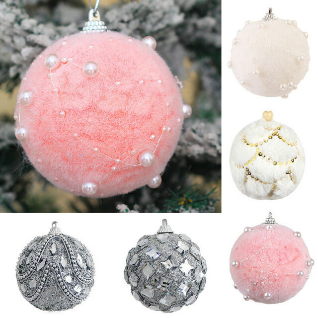 Glitter Christmas Ornament Xmas Tree Hanging Ball Pendant Home Party Decoration