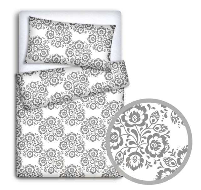 BABY BEDDING SET 120x90 PILLOWCASE DUVET COVER 2PC FIT COT GREY STARS ON WHITE