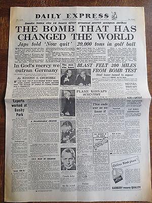 WW2 Newspaper August 7 1945 Hiroshima Atomic Bomb DAILY EXPRESS Birthday