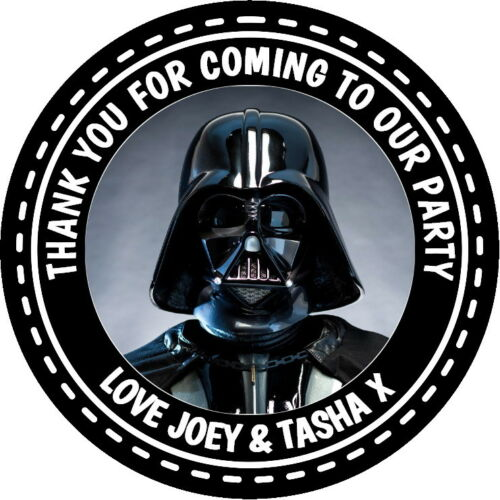PERSONALISED GLOSSY DARTH VADER BIRTHDAY PARTY BAG STICKERS SWEET CONE SEALS