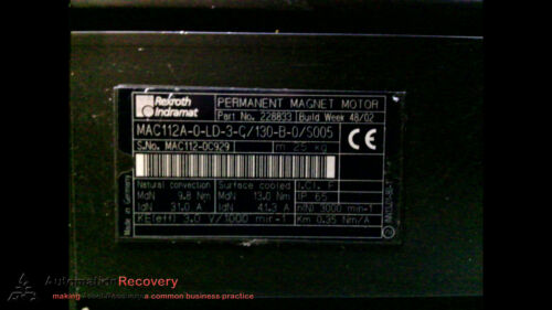 REXROTH INDRAMAT MAC112A-0-LD-3-C//130-B-0//S005 PERMANENT MAGNET MOTOR, #193490
