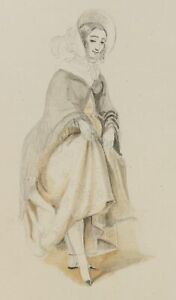 Ein-katschinskisches-Maedchen-Russische-Mode-um-1880-Bleistiftzeichnung