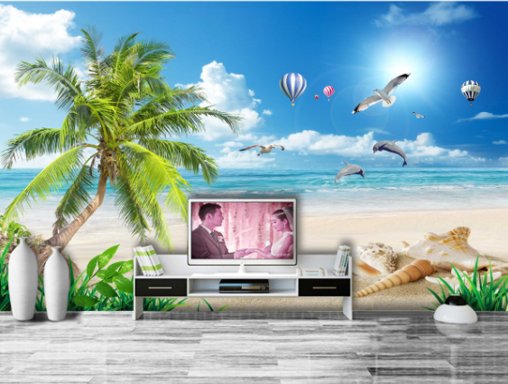 3D 3D 3D Seagulls Beach 57 Wallpaper Murals Wall Print Wallpaper Mural AJ WALL AU Kyra dedb0e