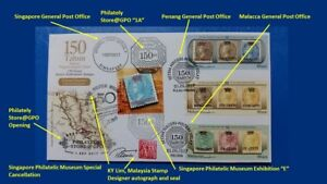 Autograph-Malaysia-Singapore-150-Straits-Settlements-Stamps-First-Day-Cover-2017