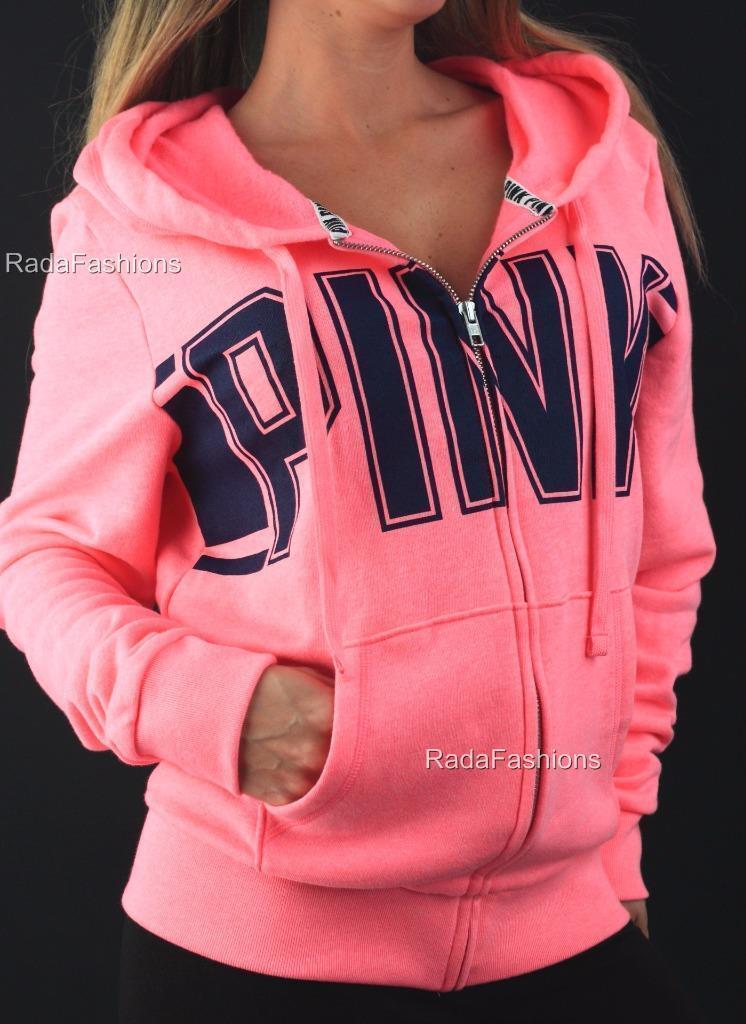 Victoria's Secret PINK Fleece Sweatshirt Perfect Perfect Perfect Full Zip Hoodie Logo NWT 297e4e