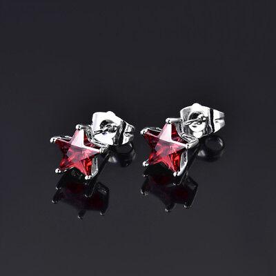Luxury Dangle Flock Flower Silver Gold Filled Ruby Crystal Women Stud Earrings