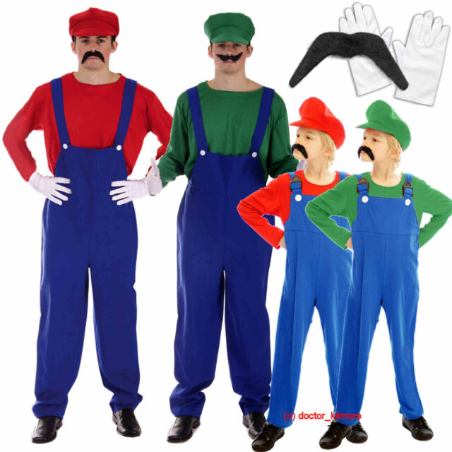 089d36402989 Mario Luigi Fancy Dress Plumber Workman Costume Mens Adult Boys Gloves  Moustache for sale