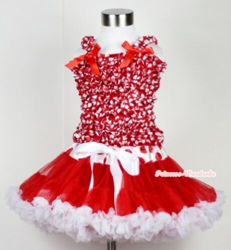 XMAS Red White Dots Waist Pettiskirt Tutu Dress Minnie Ruffles Tank Top Set 1-8Y