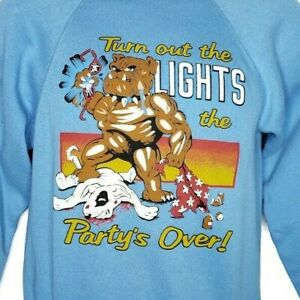 Spuds-MacKenzie-Bulldog-Sweatshirt-Vintage-80s-Partys-Over-Made-In-USA-Small