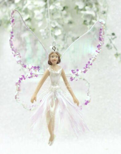 GISELA GRAHAM CHRISTMAS WHITE IRIDESCENT SEQUIN FABRIC RESIN FAIRY DECORATION