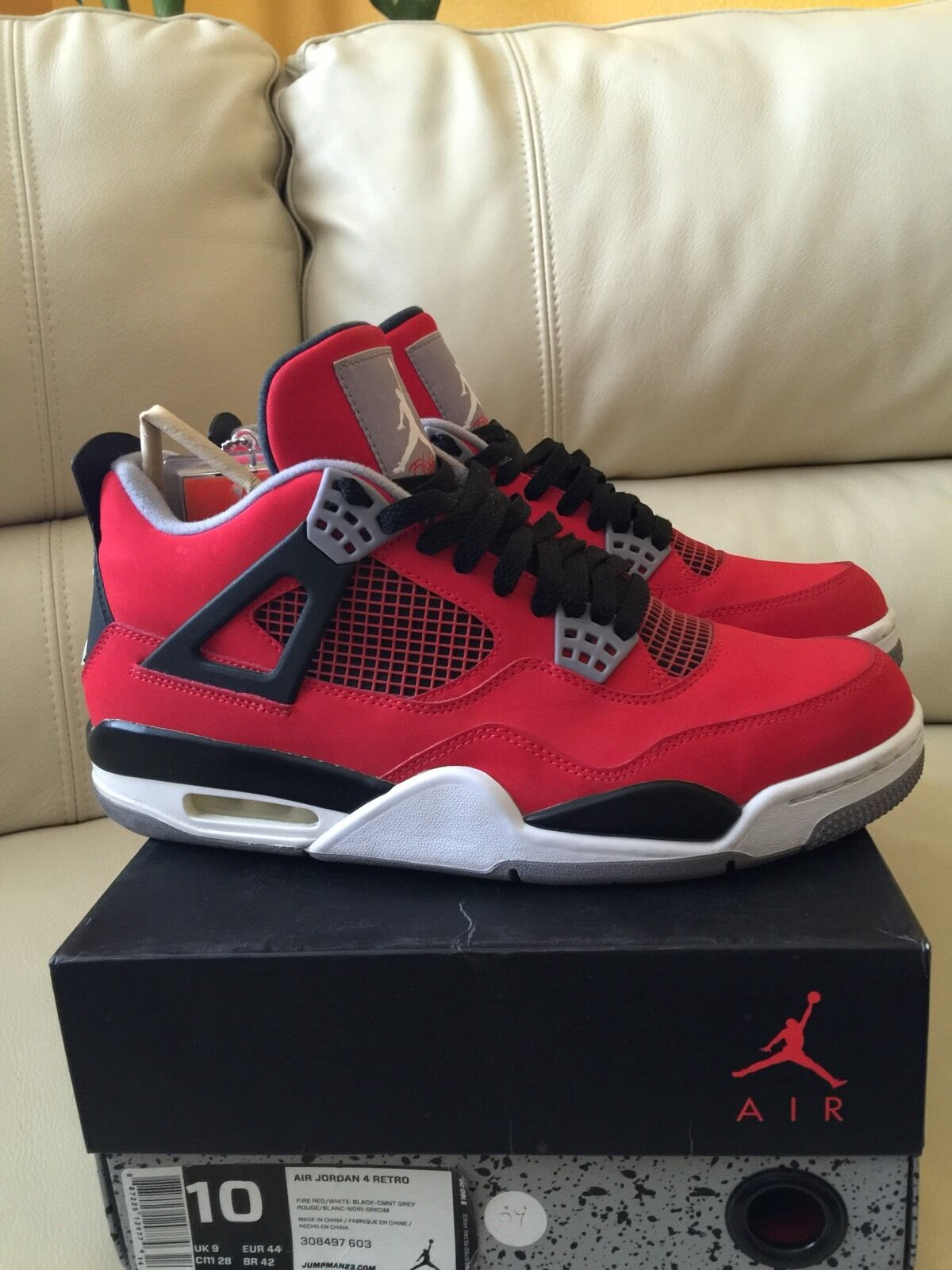 san francisco 694fa a80b7 Nike Nike Nike Air Jordan 4 Retro Tgold Bravo Fire Red White Black Cement Size  10
