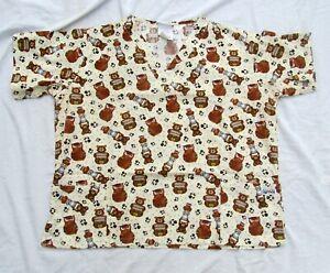 Bears-Owls-Uniform-Medical-Nurse-Scrubs-Top-Shirt-Short-Sleeve-Women-Size-XL