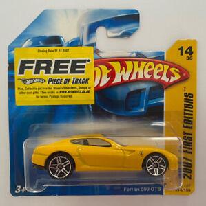 2007-HotWheels-FERRARI-599-GTB-giallo-carta-breve-molto-RARO-Nuovo-di-zecca-MOC