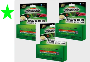 Set-of-3-SPECTRACIDE-BAG-A-BUG-LURE-Japanese-Beetle-Insect-Trap-REPLACEMENT-BAIT
