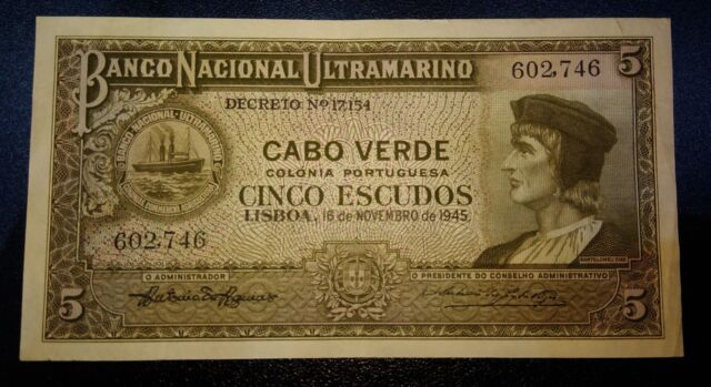 Cape Verde 5 escudos  16.11.1945 P.41  XF  Hard to find