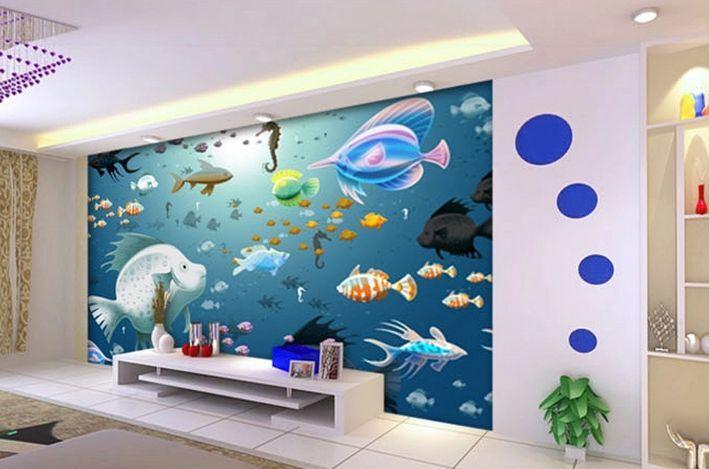 3D Submarine Illustration Papier Wand Drucken Decal Wand Deco Innen Wand Murals