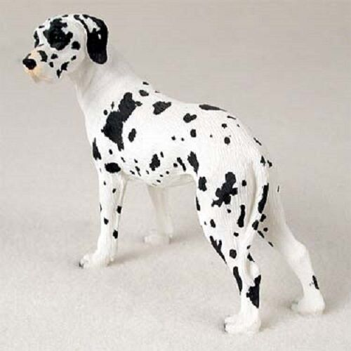 GREAT DANE Dog HANDPAINTED FIGURINE resin Statue COLLECTIBLE Harlequin UNCROPPED