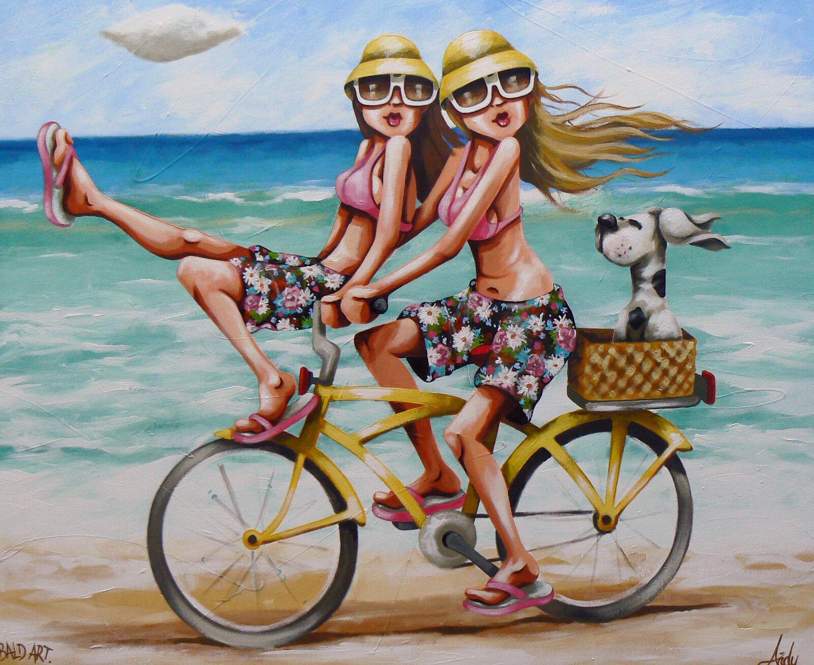 Beach surfing bike canvas PRINT Andy Baker painting Australia