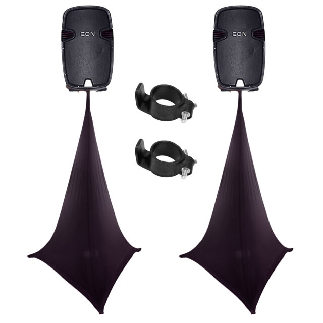 Scrim King SS-SPK03-B Black Triple Sided Speaker Stand Scrim/Cover Pair + Clamps