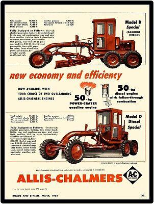 1956 Allis Chalmers Construction New Metal Sign Model D Motor Grader Featured