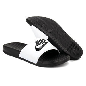 new product 00400 46eab Details about New Nike Banassi JDI 343880-100 White Slippers Men
