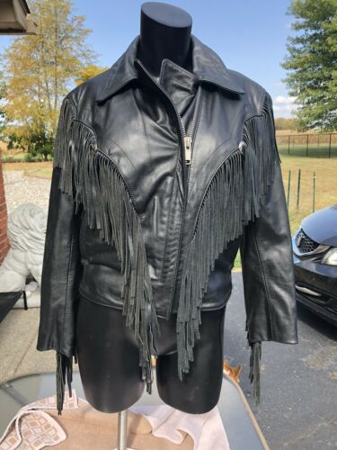 VTG Bermans Black Leather Crop Jacket Coat Size 8