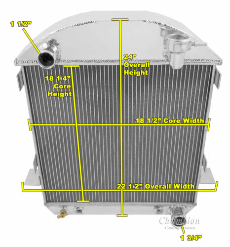 1917 1918 1919 1920 1921 T-BUCKET W//CHEVY CONFIGURATION 2 Row RR Radiator
