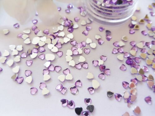 3D Nail Art /'Lilac//Purple/' 3mm Rhinestone Hearts Pot Flat Back app 400pcs Gems