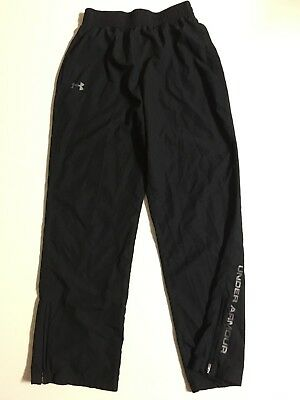 Reebok Black Athletic Running Track Drawstring Pants Ankle Zips White Stitch M