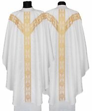 White Gothic Chasuble with stole GY201-B25 Vestment Casulla Blanca Weiss Kasel