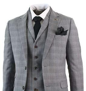 5deb31ce42b1 Mens Light Grey Smart Formal 3 Piece Slim Fit Check Retro Suit Prom ...